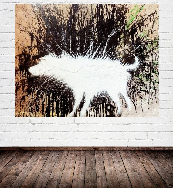 BANKSY Canvas Wall Art Print Wet Dog by Banksy Gallery Wrapped
