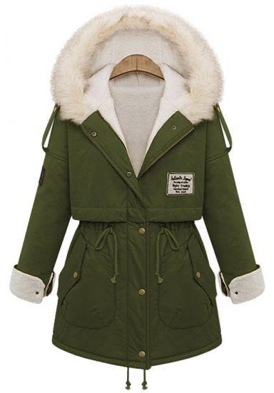 Green Fur Hooded Zipper Embellished Fleece Inside Military Coat pictures