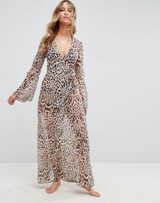 ASOS Beach Maxi Kimono Cover Up in Leopard Print