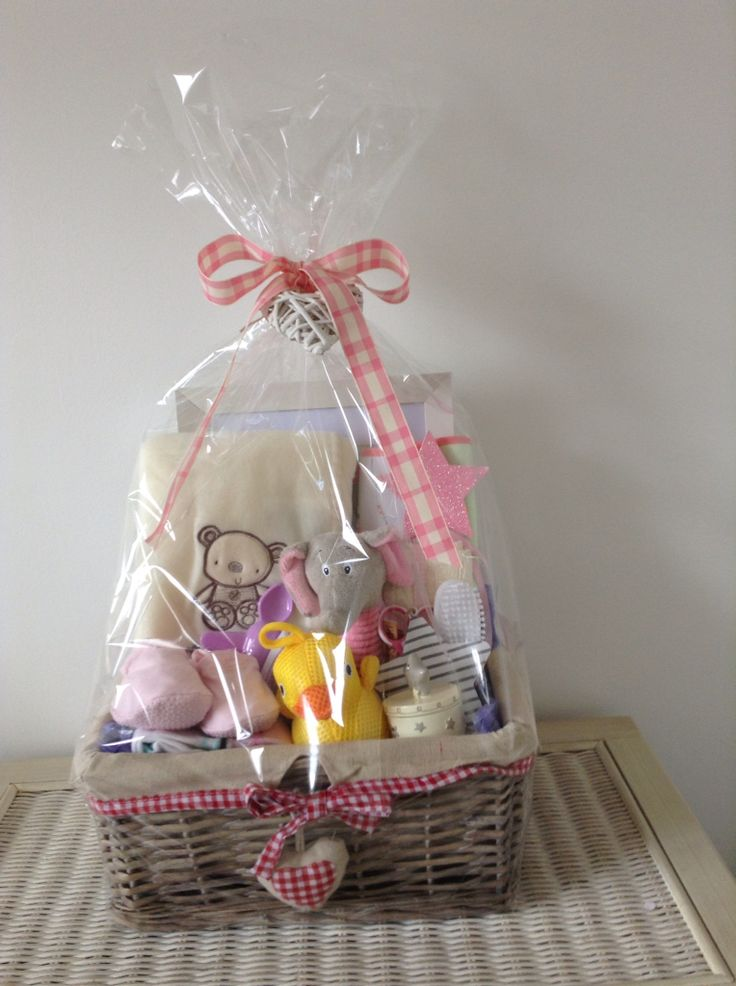 149 best marie lous baskets images on pinterest gift baskets baby girl gift basket wrapped in cellophane negle Images