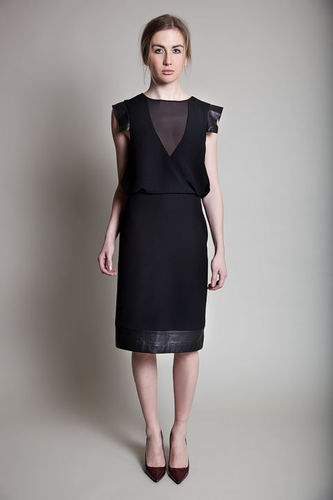 Blouson dress made from leather and crepe