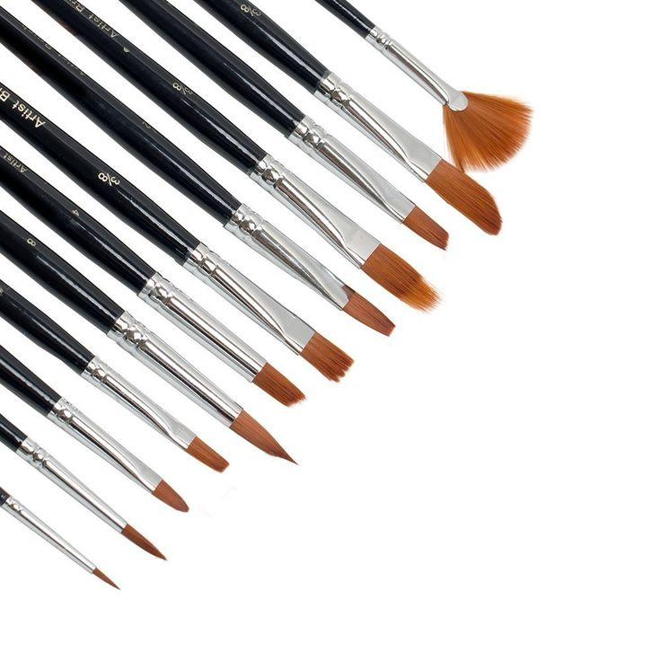 Tenn Well 12 Stück Künstlerpinsel, Pinsel für Acryl-Farben, Öl, Wasserfarben, Gouache, Gesichtsfarben, von grob bis fein (Schwarz):