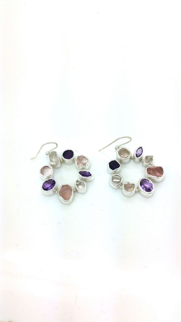 Rough Rose Quartz, Facet Pink Rose Quartz and Amethyst Sterling Silver Gemstone Earrings