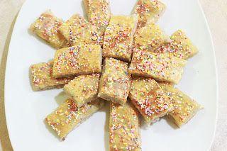 Resep Wingko  Bahan- bahan:   250 gram tepung ketan 200 gram kelapa parut 1 sendok teh garam 100 ml santan kelapa Mentega secukupnya Selai Kacang tanah Butiran coklat mutiara warna- warni