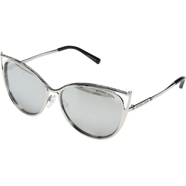Michael Kors Ina MK1020 56mm (Gray Marble/Silver Tone/Silver Mirror)... (8.770 RUB) ❤ liked on Polyvore featuring accessories, eyewear, sunglasses, silver mirror sunglasses, michael kors sunglasses, cat eye mirrored sunglasses, gray sunglasses and metal frame sunglasses