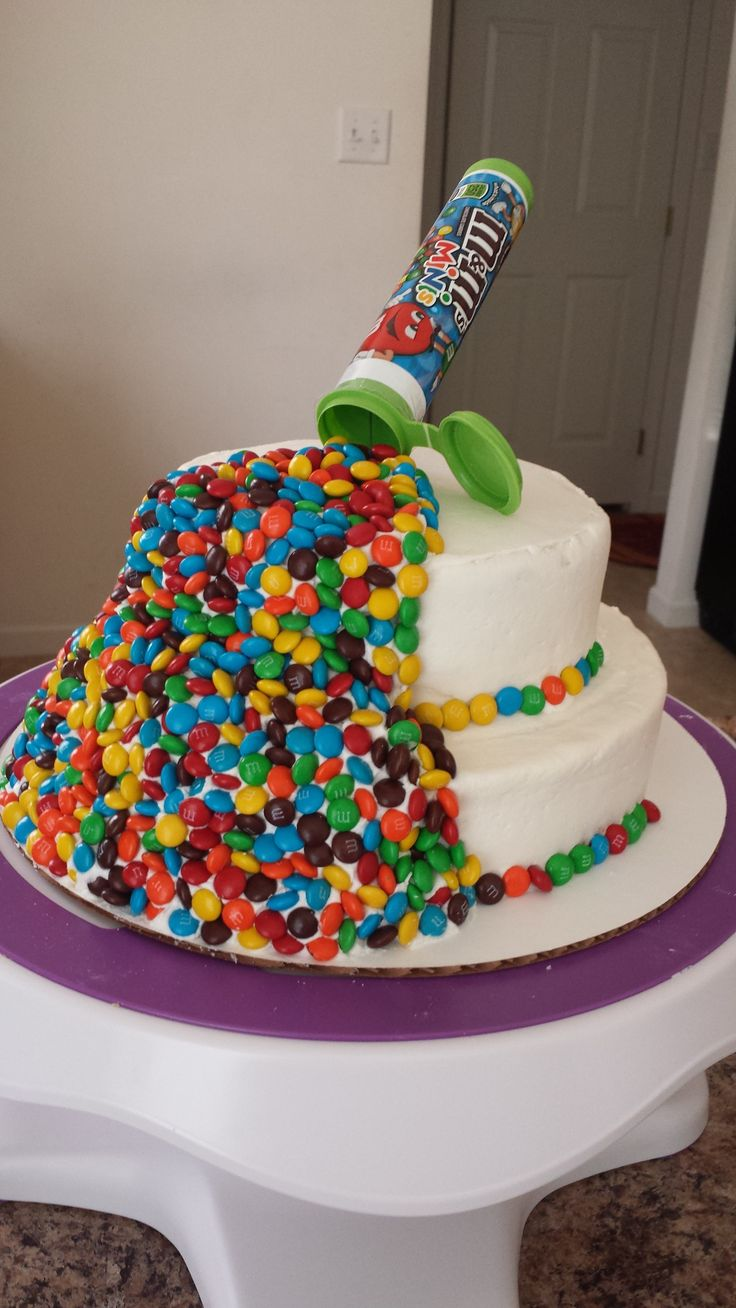 Ooh no we spilled M&Ms minis all over our cake...