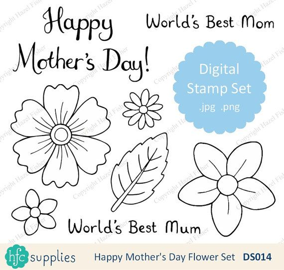 Happy Mother's Day Flower Digital Stamp set  hand drawn line art to colour in and use in card making, scrapbooking projects and more! by hfcSupplies on Etsy. World's Best Mum, Mom, flowers and leaves.