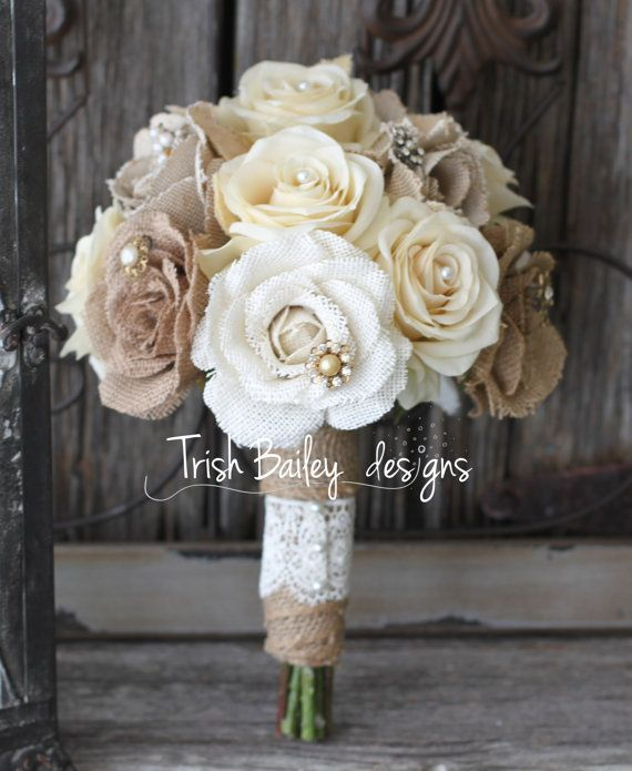 Burlap and Lace Wedding Bouquet by FloralDesignsbyTrish on Etsy