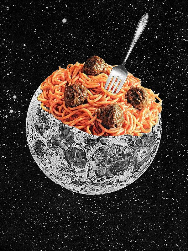 """What's Cooking? handmade collage, changes the saying of """"the moon being made of cheese"""", a sort of an antonym"""
