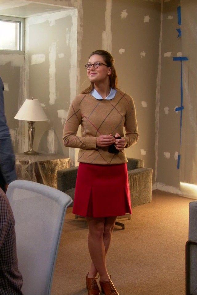 Kara Danvers / Supergirl wearing  L.A. Eyeworks Dap Frames in Tortoise, Macy's Tommy Hilfiger Multicolor Argyle Sweater, Karen Millen Wool Mini Skirt