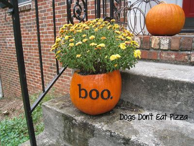 Getting My Fall On: Halloween Front Steps With Pumpkins As Planters