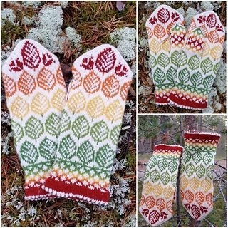 The pattern for theese lovely autumn mittens is available in swedish and english.