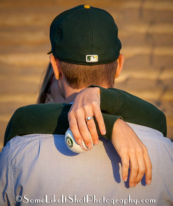 A's baseball engagement photos