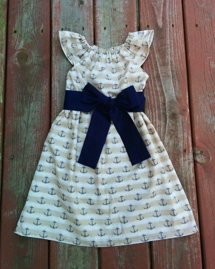 Little Girls Nautical Beach Dress Handmade Girls Nautical Anchor Dress on Etsy Sassafras Saige