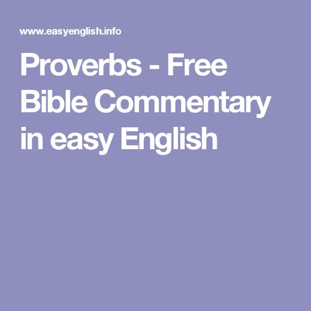 Proverbs - Free Bible Commentary in easy English