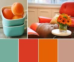 living room color pallet. Thinking a brick red color for the coffee table I'm going to paint