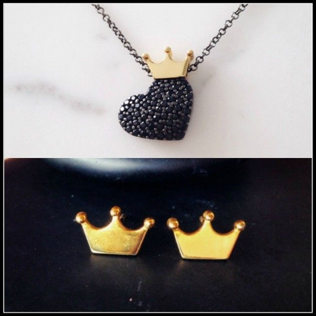 -Set from Crown earrings and Necklace with heart from silver and spinel stones with a goldplated crown - 64.00€