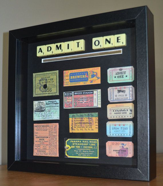Admit One ticket collecting shadow box frame from Lusty's Loves on Etsy. Vintage ticket stubs on black with Admit One scrabble art.