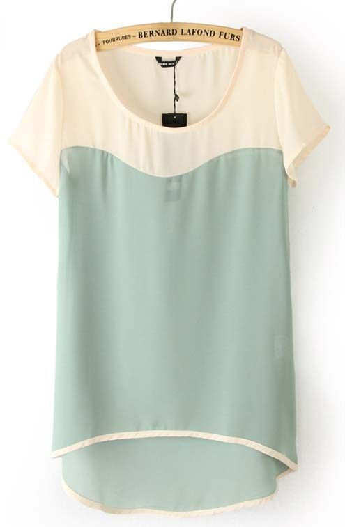 Light Green Short Sleeve Dipped Hem Chiffon Blouse