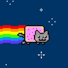 """my 4 yr old son is crazy about """"Nyan Cat"""" (Poptart Cat) and he wants it for his birthday cake. Thanks Sue!"""