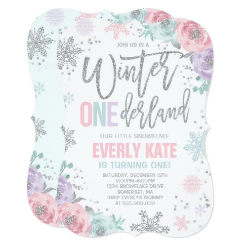 winter onederland birthday invitation pink silver silver birthday