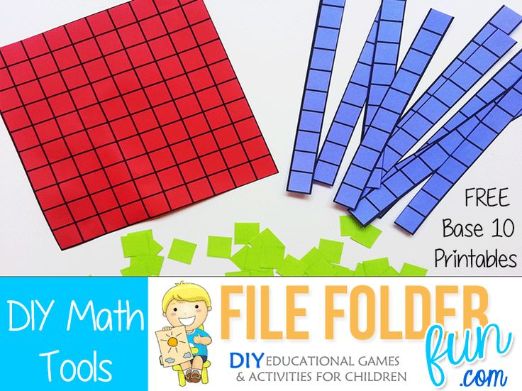Free Printable Base 10 Blocks: There is a hundreds board, Tens, and Single Unit blocks. Print on colored cardstock so children can easily identify...