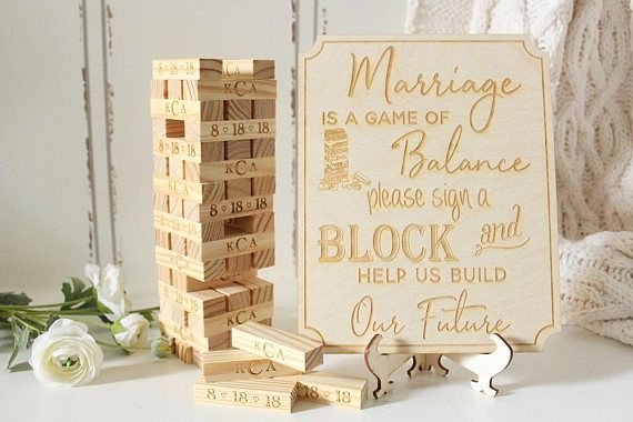 Wedding Game Wedding Guest Book Tumbling Blocks Building Memories Game Guestbook Blocks Custom B Wedding Guest Book Etsy Wedding Games For Guests Wedding Games