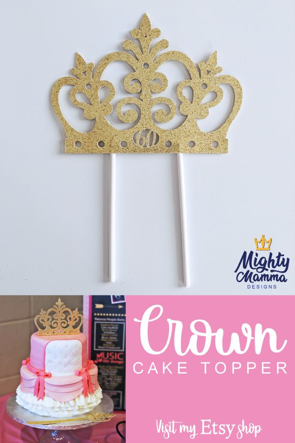 This Glittery Gold Cake Crown Topper Is A Stunner For Any Princess Or Barbie Birthday Handmade With Love You Can Purchase Your Own