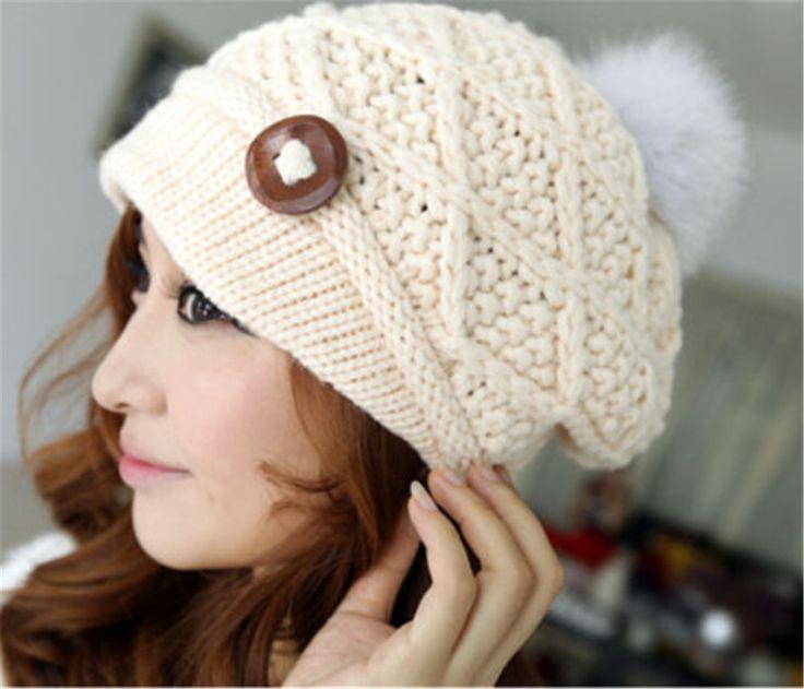 Women Ladies Button Crochet Knit Beret Hat Ski Baggy Beanie Ball Woolen Cap at Banggood