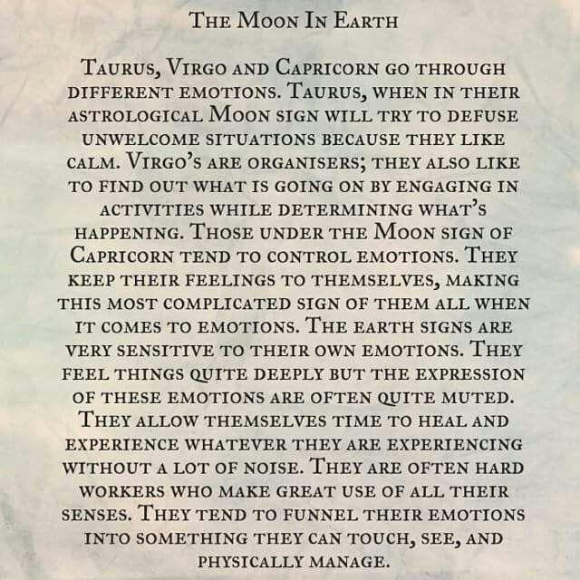 Astrology: Moon in Earth Signs (Taurus, Virgo, Capricorn Zodiac Signs)