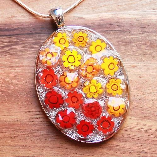Millefiori Glass Oval Shaped Red & Orange Pendant