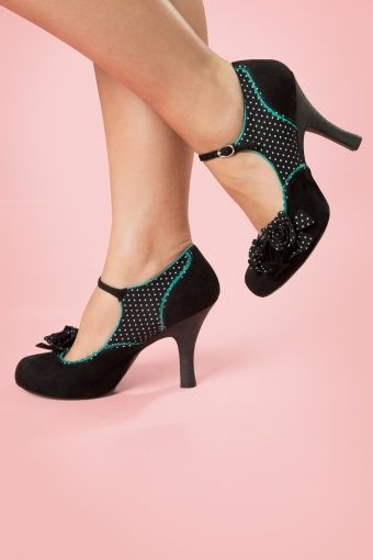 Ruby Shoo - 50s Alice Ankle Strap Pumps in Black
