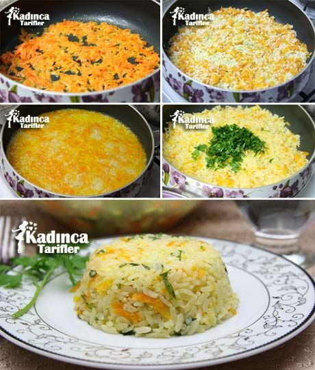 ✿ ❤ ♨ Havuçlu Pirinç Pilavı Tarifi / Malzemeler: 1 su bardağı pirinç, 1 adet orta boy havuç, 1 yemek kaşığı tereyağı, 1 yemek kaşığı sıvı yağ, 1 buçuk su bardağı su veya tavuk suyu, Maydanoz, Tuz. (püf noktası: eğer havucu kavurmadan önce yemeklik doğranmış bir orta boy soğanı önce yağda sarartıp sonra rende havuçları eklerseniz pilava lezzet üstüne lezzet katmış olursunuz, deneyin ama, yine de tercih sizin :)
