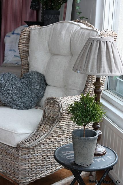 pillow, lamp shade, table and wicker :)