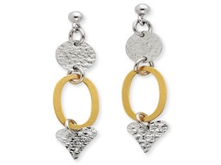 Italian Two Tone 925 Sterling Silver Heart Circle Dangle Earrings Available Online At