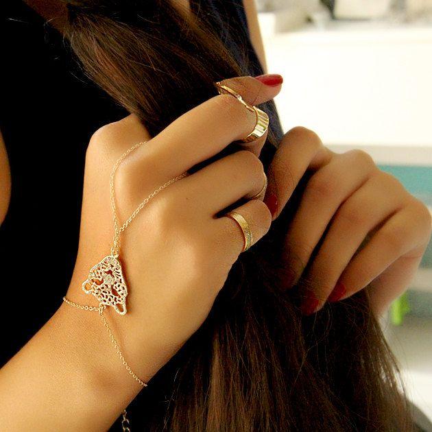Hand Chain-Slave Bracelet-Hand Finger Jewelry-Ring Bracelet-Hand Cuff-Chain Ring Bracelet-Gold Thin Tiny Simple Elegant Bracelet Jewelry by Trinketmart on Etsy