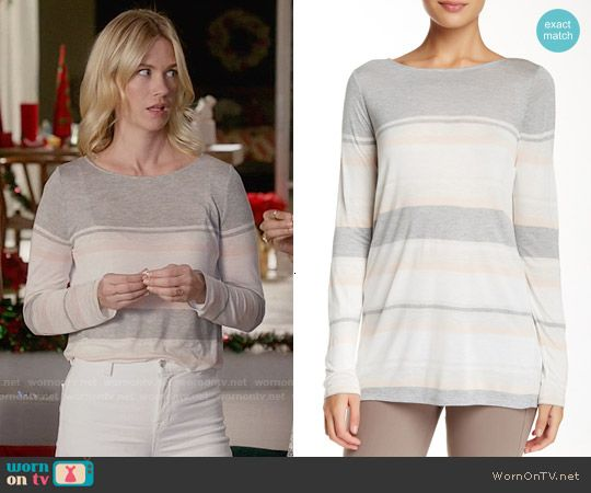 Melissa's white and grey striped long sleeve top on Last Man on Earth.  Outfit Details: http://wornontv.net/54718/ #LastManOnEarth
