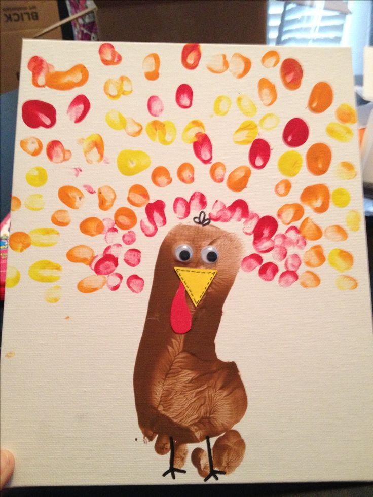 Thanksgiving craft, use a stamp ink pad for the feet, washable.  Wipe off with baby wipes.  Much easier and less messy than paint.  Can do finger prints the same way.  Use the jumbo crayola stamp pads.