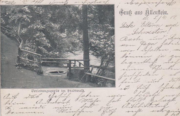 AK Allenstein Ostpreussen 1901 Olsztyn postalisch gelaufen Verlobungsquelle