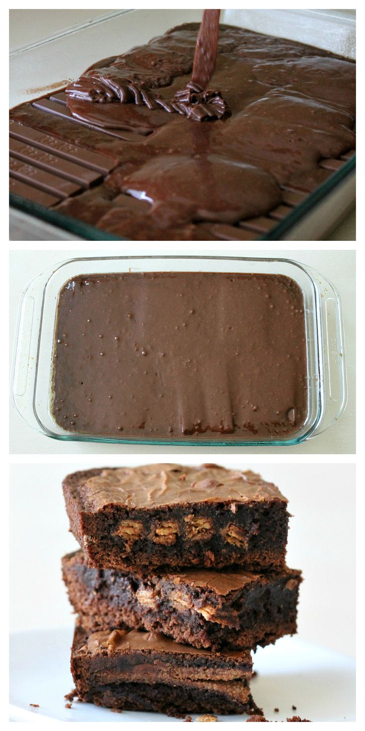 kitkat brownies, OH YES. I make these for my husband. I use reeses peanut butter bars, but you can use whatever candy bar you want