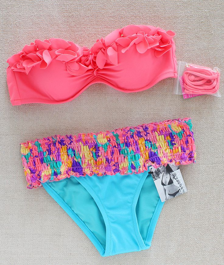 Vs Bandeau Ruffle Coral Blue Bikini