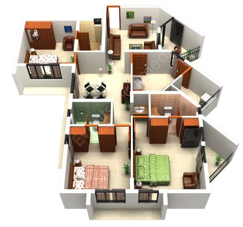 Small modern house plans in 3d images for Plan 3d online home design free