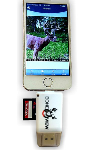 We guarantee the device to work with your phone when you get it or your money back! BoneView allows hunters to check trail cameras in the field using their smartphone!  BoneView can VIEW, SAVE, SHARE, and DELETE photos or videos from your trail camera SD cards.  With BoneView, hunters can instantly see which cameras are hot, what deer are in the area and make last second stand selections based on real-time trail camera data to improve their odds at success. BoneView eliminates the need to…
