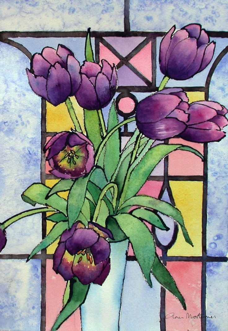 Lovely Glass Painting | ... Painting Blog: Tulips And A Stained Glass Window.