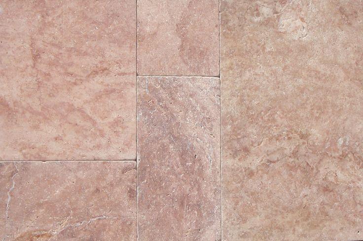 Red travertine tumbled french pattern set  #travertine #frenchpatternset #tiles #naturalstone