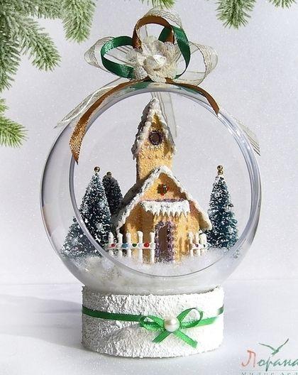"""Новогодние интерьерные шары """"Рождественские Домики"""" (d-12 cм) - подарки и сувениры"""