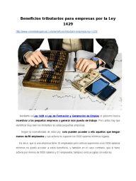 Beneficios tributarios para empresas por la Ley 1429