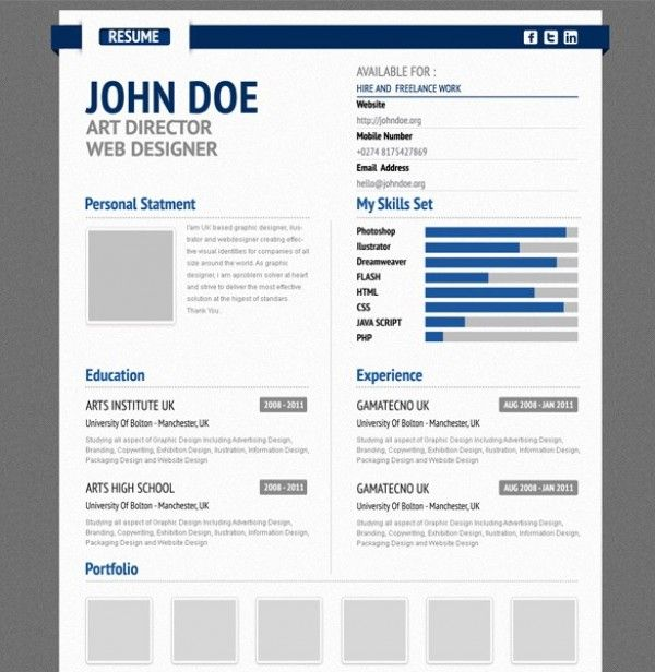 Professional Aurel Blue CV Resume Form PSD…