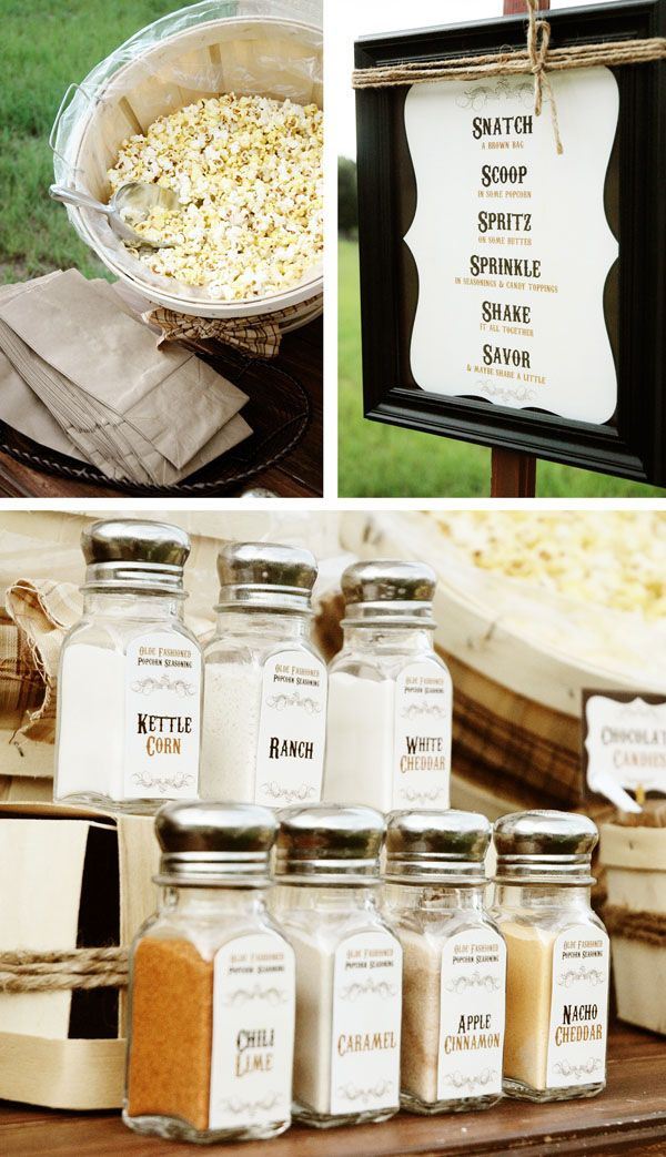 Rustic style popcorn seasoning shakers - great for wedding popcorn buffet
