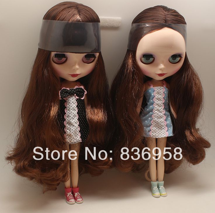 New Dark Brown Long Curly Hair White Skin Nude Blythe Doll $65.00